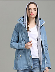 cheap -Women's Spring Jacket Daily Regular Solid Colored Light Blue M / L / XL / Winter