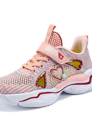 cheap -Girls' Novelty Knit Trainers / Athletic Shoes Big Kids(7years +) Walking Shoes Button Purple / Pink Summer / Slogan