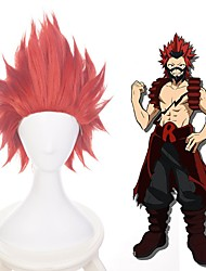 cheap -Cosplay Costume Wig Cosplay Wig Kirishima Eijirou My Hero Academia / Boku No Hero Straight Layered Haircut Wig Short Dark Red Synthetic Hair 14 inch Men's Anime Cosplay Exquisite Red