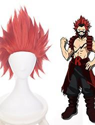 cheap -Cosplay Wig Kirishima Eijirou My Hero Academia / Boku No Hero Straight Layered Haircut Wig Short Dark Red Synthetic Hair 14 inch Men's Anime Cosplay Exquisite Red
