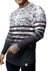 preiswerte -Herrn Geometrisch Druck T-shirt Alltag Grün / Grau