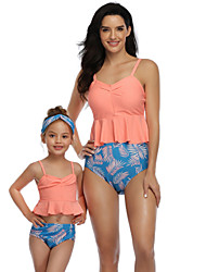 cheap -2 Piece Mommy and Me Active Sweet Floral Color Block Graphic Backless Ruffle Ruched Sleeveless Short Above Knee Swimwear Orange