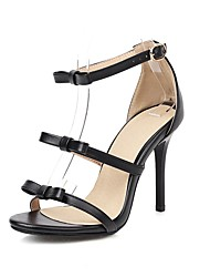 cheap -Women's Sandals 2020 Spring & Summer Stiletto Heel Open Toe Business Classic Wedding Party & Evening Bowknot Solid Colored PU Black / Brown