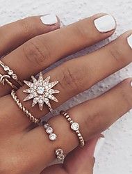 cheap -Women's Ring Set 6pcs Gold Alloy Circular Boho Street Jewelry