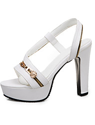 cheap -Women's Sandals Spring &  Fall / Summer Chunky Heel Open Toe Daily Outdoor PU Light Yellow / White / Black