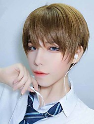 cheap -Synthetic Wig Natural Straight With Bangs Wig Short Light Brown Black Synthetic Hair 6 inch Men's New Design Easy dressing Cool Black Brown