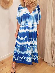 Недорогие -Жен. Платье прямого кроя Длинное платье - Рукав до локтя Узоры тай-дай Лето На каждый день 2020 Черный Синий M L XL XXL XXXL