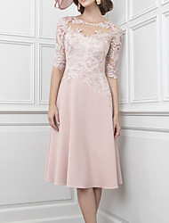 cheap -A-Line Mother of the Bride Dress Elegant Illusion Neck Knee Length Lace Satin Half Sleeve with Pleats Appliques 2020