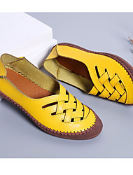 cheap -Women's Loafers & Slip-Ons Summer Flat Heel Closed Toe Daily PU Black / Yellow / Red