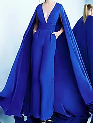 cheap -Jumpsuits Elegant Engagement Formal Evening Dress V Neck Sleeveless Sweep / Brush Train Satin with Sleek 2021