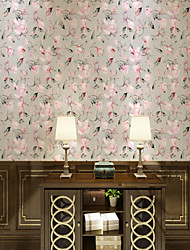 cheap -Custom Self-Adhesive Mural Wallpaper Powder Pink Flowers Suitable For Bedroom Living Room Coffee Shop Restaurant Hotel Wall Decoration Art  Landscape Home Decoration Modern Wall Covering