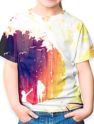 Недорогие -Дети Девочки Активный Классический 3D С короткими рукавами Футболка Цвет радуги