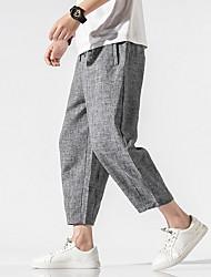 cheap -Men's Sporty Chinoiserie Loose Cotton Chinos Pants - Solid Colored Drawstring Comfort Black Light gray Dark Gray US32 / UK32 / EU40 / US34 / UK34 / EU42 / US38 / UK38 / EU46