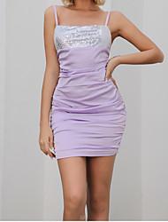Недорогие -женское контрастное пятно ежедневное мини-платье с квадратным вырезом и рюшами bodycon mm0391