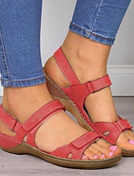 cheap -Women's Sandals Flat Sandal Summer Flat Heel Peep Toe Daily PU Wine / Yellow / Blue
