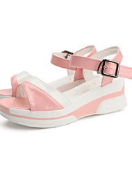 cheap -Women's Sandals Wedge Sandals Summer Wedge Heel Open Toe Casual Daily PU Pink / White / Black / White