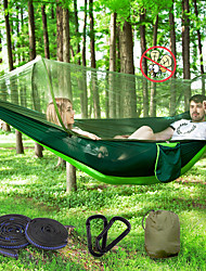 cheap -Camping Hammock with Pop Up Mosquito Net Double Hammock Outdoor Breathable Anti-Mosquito Ultra Light (UL) Foldable Mesh Parachute Nylon with Carabiners and Tree Straps for 2 person Camping / Hiking