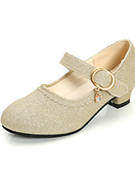 cheap -Girls' Comfort / Flower Girl Shoes PU Heels Leatherette Loafers Little Kids(4-7ys) / Big Kids(7years +) Sparkling Glitter Pink / Gold / Blue Spring / Fall / Party & Evening / TR