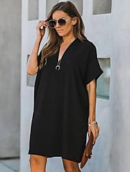 cheap -Women's Shift Dress Knee Length Dress Black Wine Short Sleeve Solid Color Patchwork Fall Summer V Neck Hot Streetwear Oversized 2021 S M L XL XXL