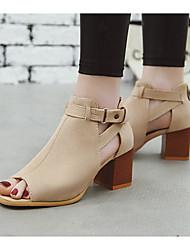 cheap -Women's Sandals Heel Sandals Summer Chunky Heel Peep Toe Daily PU Almond / Black / Green