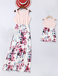 cheap -Mommy and Me Boho Sweet Rose Floral Print Sleeveless Maxi Dress Blushing Pink