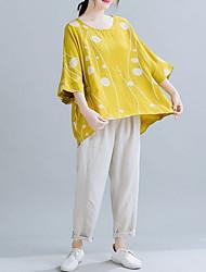 cheap -Women's Polka Dot Loose T-shirt Daily Yellow / Light Blue