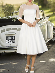 cheap -A-Line Wedding Dresses Jewel Neck Tea Length Satin Tulle Half Sleeve Vintage Sexy Wedding Dress in Color with Sashes / Ribbons Pleats 2020