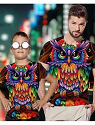 ieftine -Tati si cu mine Activ De Bază Curcubeu Grafic Animal Manșon scurt Regular Tricou Curcubeu