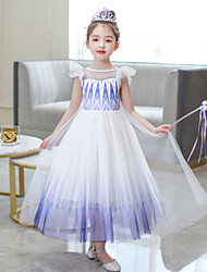 cheap -Frozen Outfits Costume Girls' Movie Cosplay Cosplay Blue Pink Purple (With Accessories) Skirt Children's Day Polyester Cotton