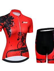 Недорогие -21Grams Жен. С короткими рукавами Велокофты и велошорты Спандекс Полиэстер Черный / красный Шестерня Велоспорт Наборы одежды / Слабоэластичная / Быстровысыхающий / Дышащий / Горные велосипеды