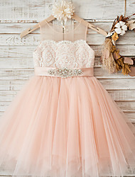 cheap -A-Line Ankle Length Wedding / Party Flower Girl Dresses - Lace / Tulle Sleeveless Jewel Neck with Sash / Ribbon / Crystals