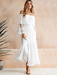 Недорогие -Жен. Макси А-силуэт Платье - Длинный рукав Сплошной цвет С открытыми плечами Белый S M L XL