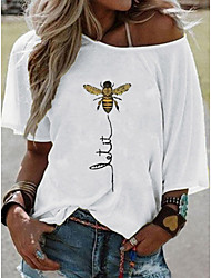 cheap -Women's Animal T-shirt Daily White / Yellow / Blushing Pink / Fuchsia / Khaki / Light Blue