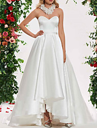 cheap -A-Line Wedding Dresses Strapless Sweep / Brush Train Asymmetrical Satin Sleeveless Simple with Ruched 2021