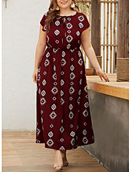 cheap -Women's A-Line Dress Maxi long Dress - Short Sleeves Geometric Summer Elegant 2020 Wine Black Navy Blue XL XXL XXXL XXXXL
