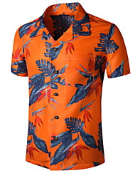 cheap -Men's Graphic Print Shirt Tropical Daily Orange / Short Sleeve