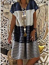 Недорогие -Жен. Платье A-силуэта ひざ丈ドレス - Короткие рукава Полоски Контрастных цветов Лето На каждый день Винтаж 2020 Черный Синий Лиловый Хаки Dusty Blue S M L XL XXL XXXL XXXXL XXXXXL