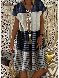 ieftine -Pentru femei Rochie A-line Rochii Lungime Genunchi - Mânecă scurtă Dungi Bloc Culoare Vară Casual Vintage 2020 Negru Albastru piscină Mov Kaki Dusty Blue S M L XL XXL XXXL XXXXL XXXXXL