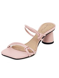cheap -Women's Sandals 2020 Summer Flare Heel Open Toe Preppy Minimalism Daily Party & Evening Solid Colored PU White / Black / Pink