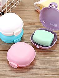 cheap -Bathroom Soap Dish Plate Case Home Shower Travel Hiking Holder Container Soap Box Zeepbakje Porte Savon Jabonera Soap Holder Random Color
