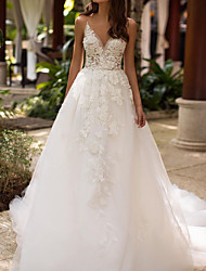 cheap -A-Line Wedding Dresses V Neck Court Train Lace Tulle Sleeveless Formal Sexy with Appliques 2021