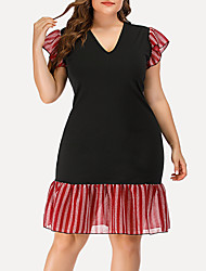 cheap -Women's Plus Size Bodycon Dress - Short Sleeves Striped Solid Color Ruffle Summer V Neck Casual Street chic Party Going out Belt Not Included 2020 Black L XL XXL XXXL XXXXL