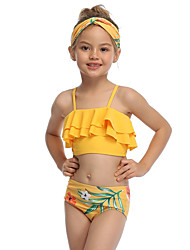ieftine -Copii Copil Fete Activ Cute Stil Floral Geometric Bloc Culoare Fără Spate Bufantă Imprimeu Fără manșon Costum Baie Galben