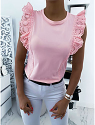 cheap -Women's Solid Colored Blouse Basic Daily Black / Blushing Pink / Beige
