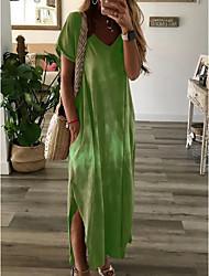cheap -Women's Shift Dress Maxi long Dress - Short Sleeves Tie Dye Summer V Neck Casual Loose 2020 Wine Purple Red Yellow Green Gray S M L XL XXL XXXL