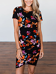 cheap -Women's Bodycon Dress - Short Sleeves Geometric Summer Fall Casual Street chic Daily Going out 2020 Black S M L XL XXL XXXL XXXXL XXXXXL