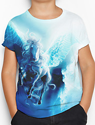 cheap -Kids Boys' Active Basic Horse 3D Animal Short Sleeve Tee Blue