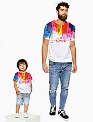 ieftine -Tati si cu mine Activ De Bază Curcubeu Grafic Scrisă Manșon scurt Regular Tricou Alb