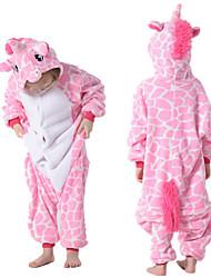 cheap -Kid's Kigurumi Pajamas Unicorn Flying Horse Onesie Pajamas Flannelette Pink Cosplay For Boys and Girls Animal Sleepwear Cartoon Festival / Holiday Costumes