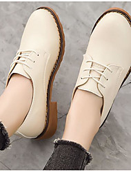 cheap -Women's Flats Summer Flat Heel Closed Toe Daily PU Black / Brown / Beige